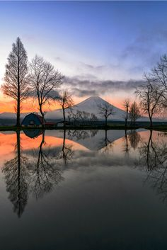 If you gaze into the water And contemplate The picture perfect replicas You see there Including the soft shades of dawn Stop and reflect on the natural beauty Of this beautiful patch of Paradise © Caro Ness 2015 Landscape Photos, Landscape Photography, Nature Photography, Beautiful World, Beautiful Places, Beautiful Pictures, Beautiful Scenery, Mount Fuji Japan, Monte Fuji