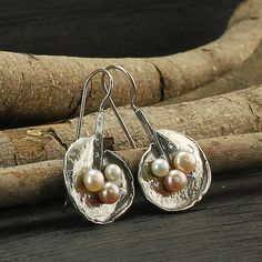 Colored Pearls Earrings, White Pink Peach Pearls, 925 Sterling Silver, Unique Design, Bridal,Wedding Jewelry,Bridesmaid Gift X204