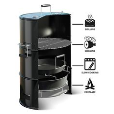A multi-functional BBQ barrel that combines a charcoal grill, a smoker, a slow cooker, and a fire pit all-in-one.