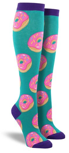 A dozen donuts please, hold the guilt. We can promise you this unique food knee highs go just as well with your morning coffee as a real pastry does. Be careful: these socks will go even faster than t