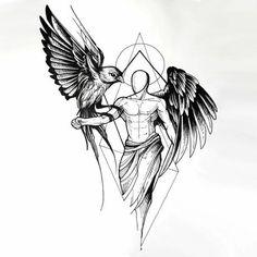 eine unserer lieblingsideen für einen schwarzen engelsflügel tattoo   hier ist ein engel mit schwarzen engelsflügeln und ein vogel mit schwarzen federn