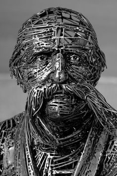 Madrid-based artist Jordi Diez Fernandez welds countless fragments of steel to create monumental figurative sculptures.