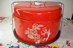 Vintage Red Kitchen Cake Carrier Cake Saver BBQ Picnic