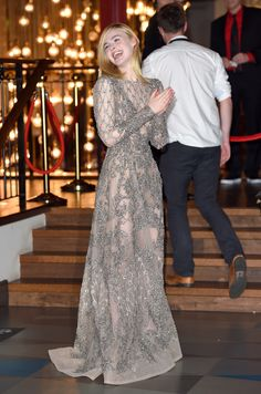 Alternate title: Elie Saab and Elle Fanning, a love story. Fanning wore a couture design by Saab to the U.K. premiere of The Neon Demon in London, England, May 2016.