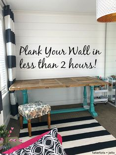 Create a focal Shiplap wall in your home from start to finish in less than 2 hours. This is an inexpensive project you can finish in FOUR easy steps.