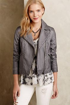 "Felicity jacket from ""Arrow"". Perfed Vegan Leather Moto Jacket - anthropologie.com"
