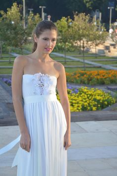 Wedding dress strapless with lace embroidery and beads by Barzelai, $310.00