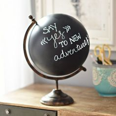 There's nothing more trendy than a Decorative Chalk Globe! It's the perfect place to write inspiring messages or to list all your dream vacations. Nautical Bedroom, Trendy Bedroom, Bedroom Decor, Bedroom Ideas, Bedroom Designs, Painted Globe, Gold Globe, Teen Furniture, Map Globe