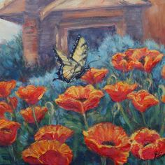 Butterfly & poppy note cards fresh off the artist press. Art by Gina Grundemann.