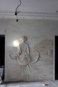Wall art sculpture design New ideas Plaster Art, Plaster Walls, Wall Sculptures, Sculpture Art, Plaster Sculpture, Wal Art, Wall Design, House Design, Wall Murals