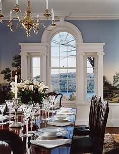 I love this dining room. Wonderful window and the mural on the wall looks to be beautiful from what we can see. Might be in an older house. Beautiful Dining Rooms, Beautiful Homes, Beautiful Interiors, H Design, House Design, Interior Exterior, Interior Design, Modern Exterior, Enchanted Home