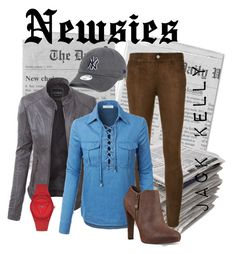 """""""Newsies- Jack kelly"""" by mockinghawk on Polyvore featuring Paige Denim, LE3NO, New Era, GUESS and Nine West"""