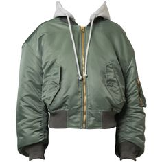 Vetements Bomber Jacket with Hood ($2,390) ❤ liked on Polyvore featuring outerwear, jackets, gift guide, kirna zabete, streetwise tomboy, green cropped jacket, jersey jacket, bomber style jacket, blouson jacket and flight jacket