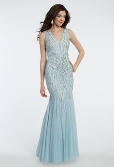 Look oh-so dreamy for prom in this evening gown! The v-neckline, beaded bodice, and illusion plunging neckline make this prom dress a classic. #CLVprom17 #camillelavie