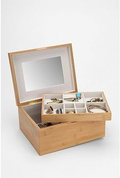 Bamboo jewelry box. Definitely want. Matches our bamboo bathroom.
