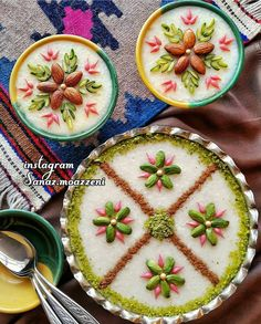Image may contain: fruit and food Amazing Food Decoration, Food Garnishes, Garnishing, Persian Desserts, Iran Food, Iranian Cuisine, Middle Eastern Recipes, Arabic Food, Food Crafts
