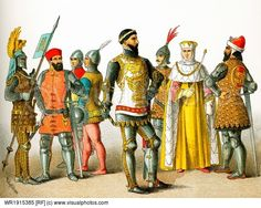 The figures in this image are Italians from the A.D. 1300s. They represent from left to right: three knights a soldier Bernabo Visconti (died 1385) Venetian warrior Roman senator Doge of Venice. The illustration dates to 1882.