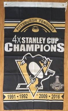 NHL Pittsburgh Penguins Hockey Championship Flag Banner 3x5 Gift FREE SHIPPING #PittsburghPenguins