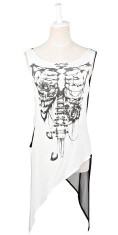 Blooms Punk Women Tassels Skull Print Sleeveless T-Shirt Top