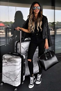Travel attire, casual travel outfit, cute travel outfits, casual outfits, w Casual Travel Outfit, Airport Travel Outfits, Cute Travel Outfits, Outfit Chic, Travel Attire, Travel Clothes Women, Travel Outfit Summer, Airport Style, Comfy Airport Outfit