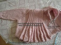 Baby girl jacket: top down raglan with faux eyelet cables and flared back