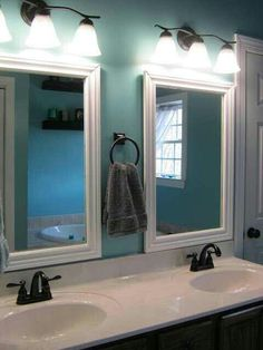 His and her sinks and mirror
