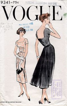 1950s Dress Pattern Vogue 9341 Elegant Square by BessieAndMaive
