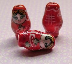 Red Matryoshka Russian doll beads from Kitsch 'n' Kaboodle Beads by DaWanda.com
