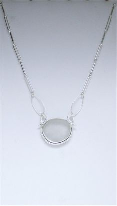 Sea Glass Jewelry - Sterling White Sea Glass Necklace with Handmade Chain