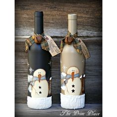 Primitive Handpainted Snowman Wine Bottle Snowman Decor Christmas... ($24) ❤ liked on Polyvore featuring home, home decor, holiday decorations, handpainted signs, painted signs, fabric tags, colored bottles and juice bottles