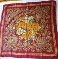 Vintage Scarf Magnificent Flowers And Paisley by