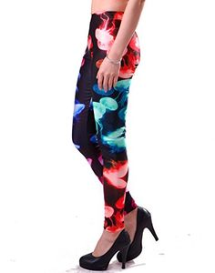 HDE Women's Funky Digital Print Design Graphic Stretch Footless Fashion Leggings at Amazon Women's Clothing store: