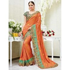 Peach Silk Zari Butta Work Embroidered Saree