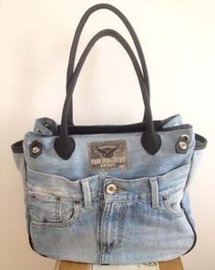 Used blue jeans bag using the front as a pocket.