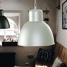 Elegante moderne Fabrik Industrielampe - Pendelleuchte - Hängelampe - Deckenlampe - Loft Lampe im Retro / Industrie Design Farbe: Elfenbein creme lackiert