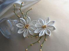Hair Pins  Ivory Kanzashi Flowers Wedding by LihiniCreations, $16.00
