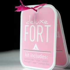 """Cool 'fort kit' to make for the girls for Christmas - 3-4 flat sheets per girl, a bag, homemade signs like """"boys keep out"""", """"open"""", """"closed"""", """"Quiet Please, Babies Sleeping"""", etc.  with ribbon or fabric sewn to sheets to use to tie to furniture.  Flashlights, glow sticks... What else to include?? :)"""