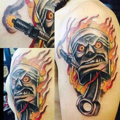 Tattoo Of Hot Rod Piston On Man Flaming                                                                                                                                                     Mehr