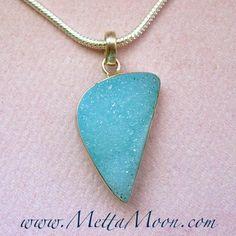 MettaMoon Sky Blue Chalcedony Druzy Pendant Necklace ON SALE NOW AT www.METTAMOON.com