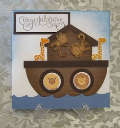 Stampin' Up! - Fox & Friends & Well Scripted.  Cute Noah's Ark Card and great punch art waves using an oval punch sideways!