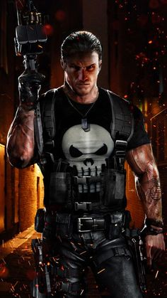 "Frank ""the Punisher"" Castle is on both my Marvel Comics Villains and Marvel Comics Heroes boards. He's a hero because he really does try to kill only bad guys. Punisher Marvel, Marvel Dc Comics, Marvel Fanart, Hq Marvel, Marvel Heroes, Daredevil, Captain Marvel, Punisher Cosplay, Comic Book Characters"