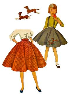 Not a 50's poodle skirt but a dachshund skirt  I had a gray felt one with a squirrel on it and a lavender one with a goose.