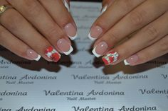 August nails, Beautiful nails 2016, Manicure by summer dress, Nails withpoppies, Red dress nails, ring finger nails, Shellac nails 2016, Spring nail art