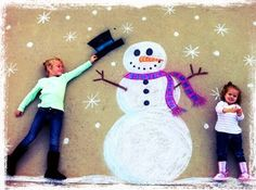 Christmas card idea!! Draw with chalk on the driveway and pose the kids laying down. Stand on ladder and take picture. Fun