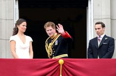 4/29/11 - After the Queen abruptly went back in, Prince Harry gave a final wave then seemed to lead the remainder of the balcony goers (sans Will & Kate) back inside.