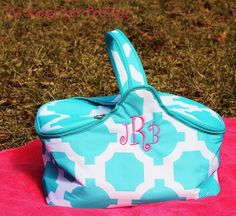 Aqua Geometric Insulated Picnic Basket by TheOrangeDoorBoutiqu, $28.00