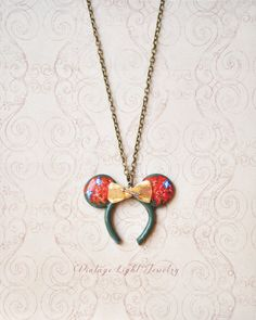 Hand Sculpted and Painted Mouse Ear Pendant by VintageLightJewelry Disney Inspired Jewelry, Disney Inspired Fashion, Disney Necklace, Red Feather, Little Bow, Mouse Ears, Jewelry Crafts, Brave, Sculpting