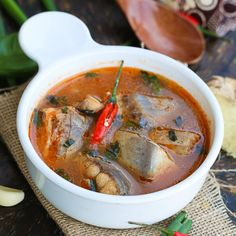 A quick, easy and healthy Fish Soup- Robustly flavored with garlic, ginger, chill, paprika and basil.