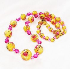 Venetian Glass Bead Necklace Pink  Yellow by AgedandOpulentJewels, $75.00