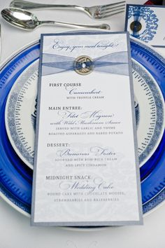 A menu card is a classy addition to your table place settings.
